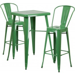 23.75Inch Square Green Indoor-Outdoor Bar Table Set with 2 Bar Stools