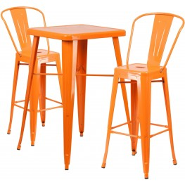 23.75Inch Square Orange Indoor-Outdoor Bar Table Set with 2 Bar Stools