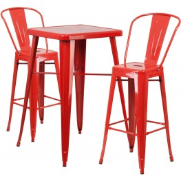 23.75Inch Square Red Indoor-Outdoor Bar Table Set with 2 Bar Stools