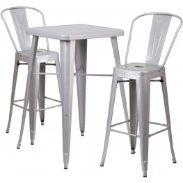 23.75Inch Square Silver Indoor-Outdoor Bar Table Set With 2 Bar Stools (Min Order Qty Required)