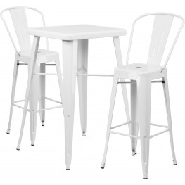 23.75Inch Square White Indoor-Outdoor Bar Table Set with 2 Bar Stools
