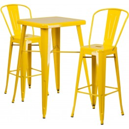 23.75Inch Square Yellow Indoor-Outdoor Bar Table Set With 2 Bar Stools (Min Order Qty Required)