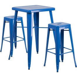 23.75Inch Square Blue Indoor-Outdoor Bar Table Set with Bar Stools