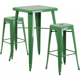 23.75Inch Square Green Indoor-Outdoor Bar Table Set With Bar Stools (Min Order Qty Required)
