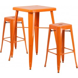 23.75Inch Square Orange Indoor-Outdoor Bar Table Set With Bar Stools (Min Order Qty Required)