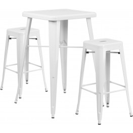 23.75Inch Square White Indoor-Outdoor Bar Table Set With Bar Stools (Min Order Qty Required)
