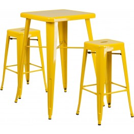 23.75Inch Square Yellow Indoor-Outdoor Bar Table Set with Bar Stools