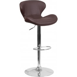 Brown Vinyl Upholstery Adjustable Height Bar Stool