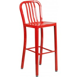 Modern 30Inch High Red Indoor-Outdoor Bar Stool (Min Order Qty Required)