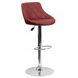 1000599 Burgundy Vinyl Bucket Seat Adjustable Height Bar Stool