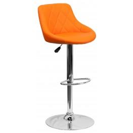 1000601 Orange Vinyl Bucket Seat Adjustable Height Bar Stool