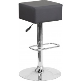 Backless Gray Vinyl Adjustable Height Bar Stool (Min Order Qty Required)