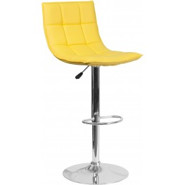 Contemporary Yellow Quilted Vinyl Adjustable Height Bar Stool