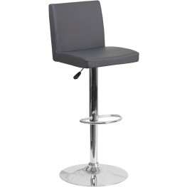 Mid-Back Gray Vinyl Upholstery Adjustable Height Bar Stool (Min Order Qty Required)