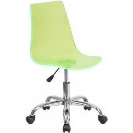 Transparent Green Acrylic Task Chair With Chrome Base (Min Order Qty Required)