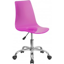 Transparent Hot Pink Acrylic Task Chair With Chrome Base (Min Order Qty Required)