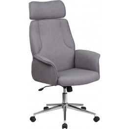 High Back Gray Executive Swivel Office Chair With Chrome Base (Min Order Qty Required)