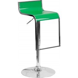 Contemporary Green Plastic Adjustable Height Bar Stool (Min Order Qty Required)