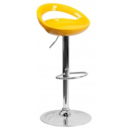 1000668 Yellow Plastic Adjustable Height Bar Stool