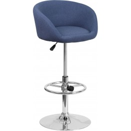 Contemporary Blue Fabric Adjustable Height Bar Stool (Min Order Qty Required)