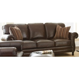 Chateau Top Grain Leather Sofa With 2 Accent Pillows From