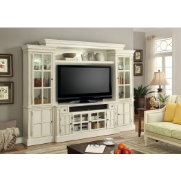 "Charlotte Antique Vintage White 62"" Entertainment Wall"