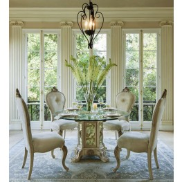 """Platine de Royale Champagne 54"""" Round Glass Top Dining Room Set"""
