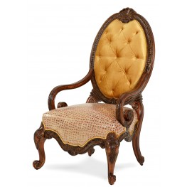 Chateau Beauvais Leather Fabric Wood Chair