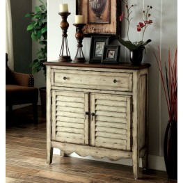 Hazen Antique White and Brown Storage Cabinet