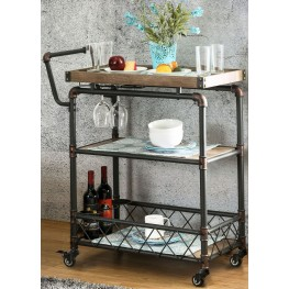Keervan Antique Black Serving Cart