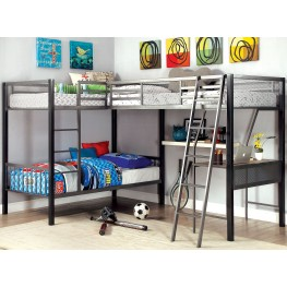 Ballarat Gray and Silver L-Shaped Triple Twin Bunk Bed With Desk