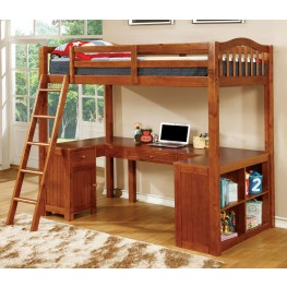 Dutton Oak Twin Loft Bed With Workstation