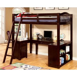 Dutton Espresso Twin Loft Bed With Workstation