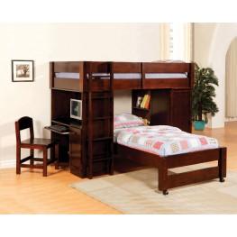 Harford Dark Cherry Twin Over Twin Loft Bed