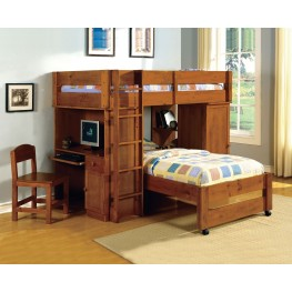 Harford Dark Oak Twin Over Twin Loft Bed