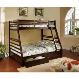 California III Dark Walnut 2 Drawer Twin Over Full Bunk Bed