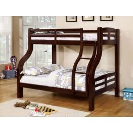 Solpine Dark Walnut Twin Over Full Bunk Bed