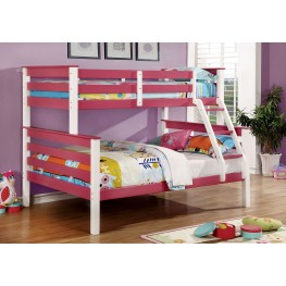 Lorren Pink and White Twin Over Full Bunk Bed
