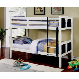 Corral Blue and White Twin Over Twin Bunk Bed