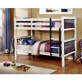 Corrin Blue and White Twin Over Twin Bunk Bed