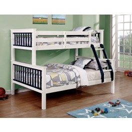 Corrin Blue and White Twin Over Full Bunk Bed