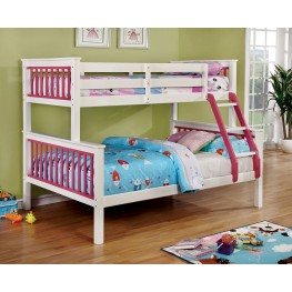 Corrin Pink and White Twin Over Full Bunk Bed