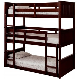 Therese Espresso Triple Twin Decker Bunk Bed