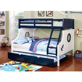 Nautia Blue and White Twin Over Full Bunk Bed