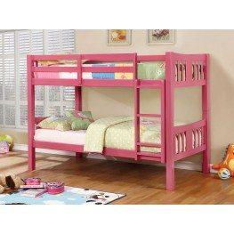 Cameron Pink Twin Over Twin Bunk Bed