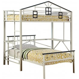 Fortress Chocolate and White Twin Loft Bunk Bed
