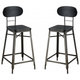 "Odalys Gray and Black 24"" Bar Chair Set Of 2"