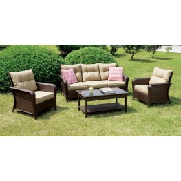 Jocelyn Tan and Brown 4 Piece Patio Seating Set
