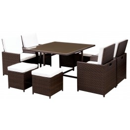 Keisha White and Espresso 9 Piece Patio Dining Set