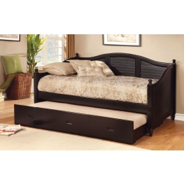 Bel Air Black Camel Back Trundle Daybed